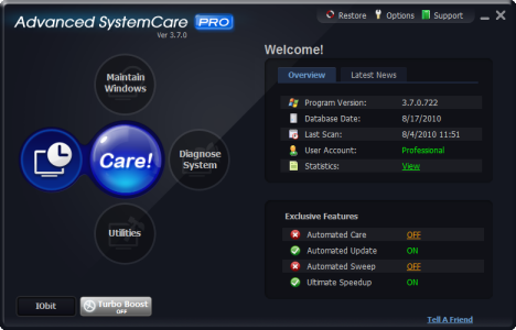 Advanced SystemCare PRO 3.7 Free License
