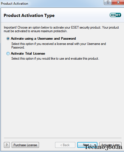 ESET Smart Security 5 username and password