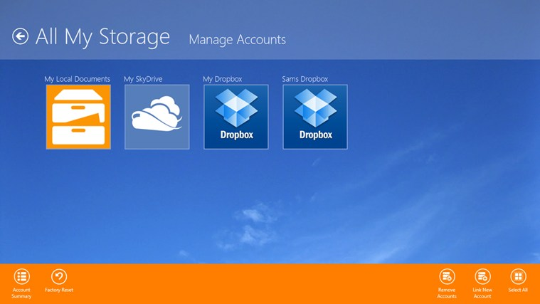 All My Storage :Use SkyDrive, Dropbox, and local files in One app