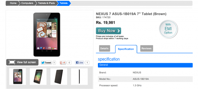 Nexus 7 available in India for Rs 19,981
