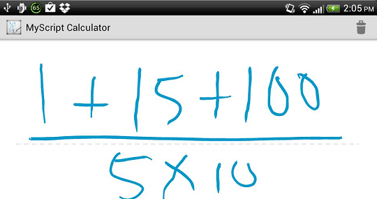 MyScript Calculator basic maths