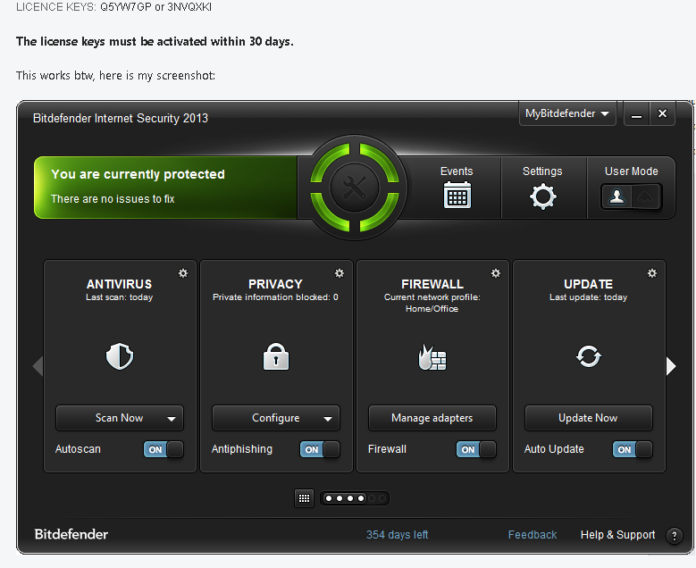 Bitdefender Internet Security 2013 license key
