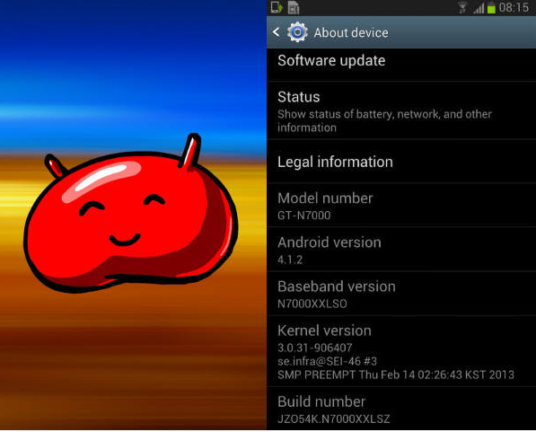 Galaxy Note gets Android 4.1.2 Jelly Bean Update