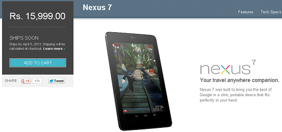 Nexus 7 Officially Available in India through Google Play