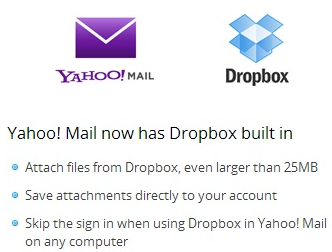 yahoo mail gets dropbox