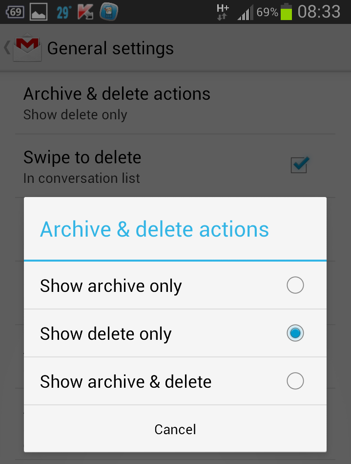 enable delete button in gmail android app