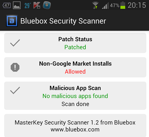Bluebox Security Scanner : Check Master key Security flaw Patched on your Android