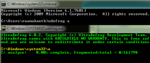 UltraDefrag 6 command prompt
