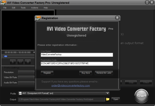 AVI Video Converter Factory Pro license