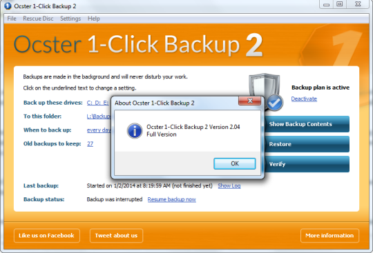 Ocster 1-Click Backup v2.04 Free License