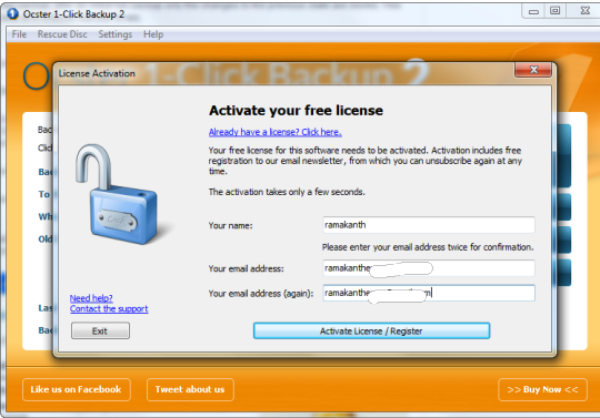 Ocster 1-Click Backup license