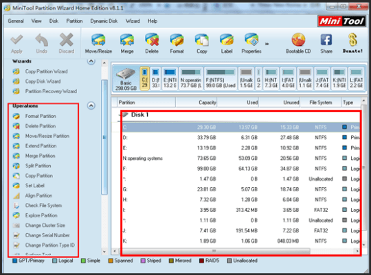 MiniTool Partition Wizard Home Edition 8.1
