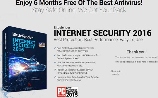 BitDefender Internet Security 2016 license