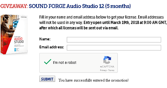 SOUND FORGE Audio Studio 12 giveaway