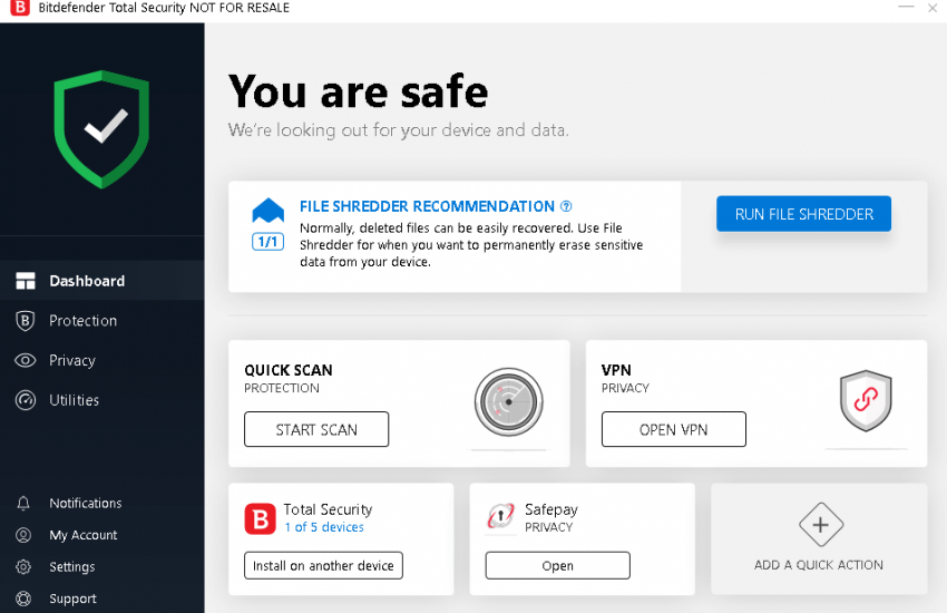 Bitdefender Total Security 2019 Interface